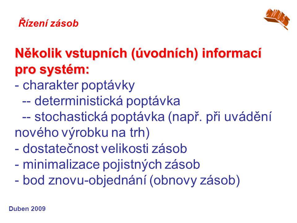 Několik vstupních (úvodních) informací pro systém: Několik vstupních (úvodních) informací pro systém: - charakter poptávky -- deterministická poptávka -- stochastická poptávka (např.