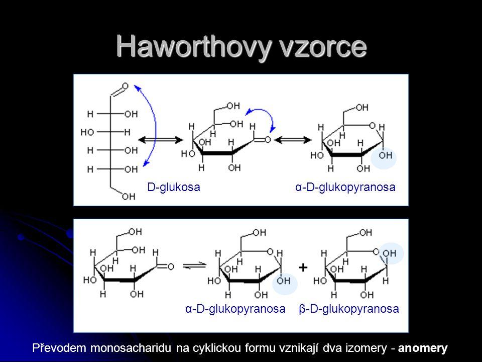 Haworthovy vzorce D-glukosaα-D-glukopyranosa β-D-glukopyranosa Převodem monosacharidu na cyklickou formu vznikají dva izomery - anomery