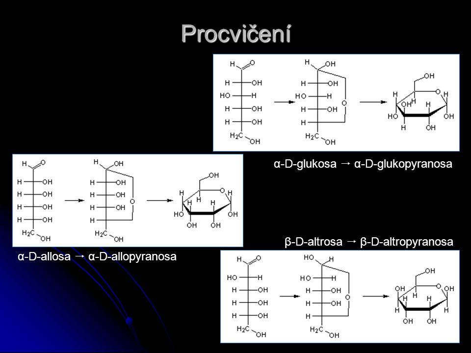 Procvičení α-D-glukosa  α-D-glukopyranosa β-D-altrosa  β-D-altropyranosa α-D-allosa  α-D-allopyranosa