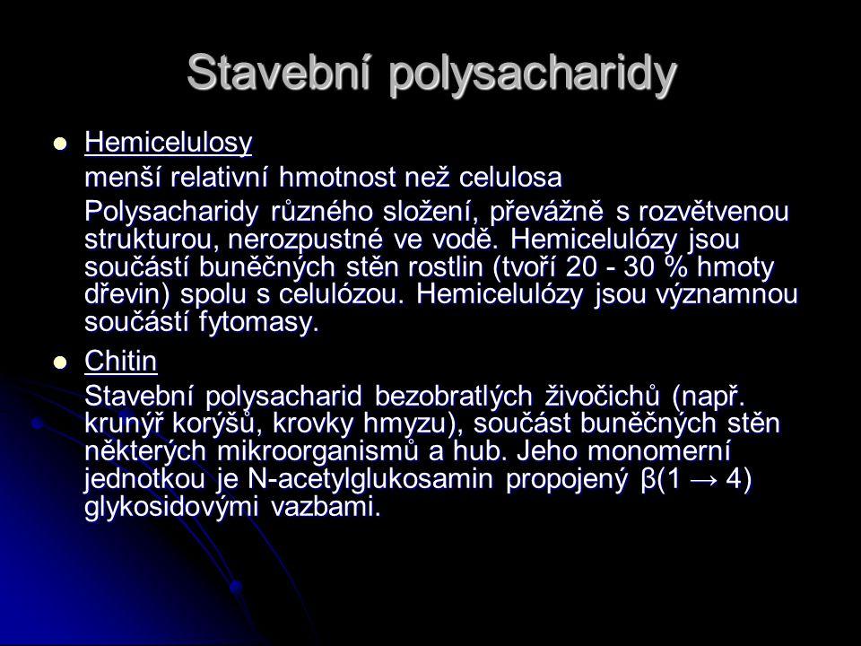 Stavební polysacharidy Hemicelulosy Hemicelulosy menší relativní hmotnost než celulosa Polysacharidy různého složení, převážně s rozvětvenou strukturou, nerozpustné ve vodě.