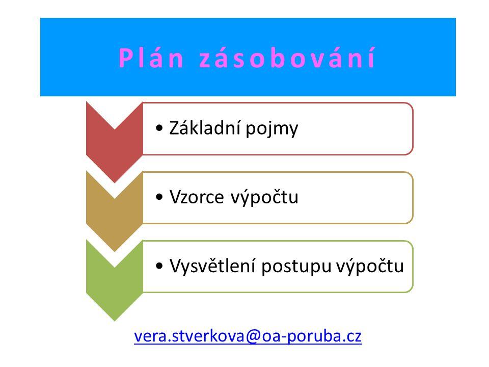 Plán zásobování vera.stverkova@oa-poruba.cz Základní pojmyVzorce výpočtuVysvětlení postupu výpočtu
