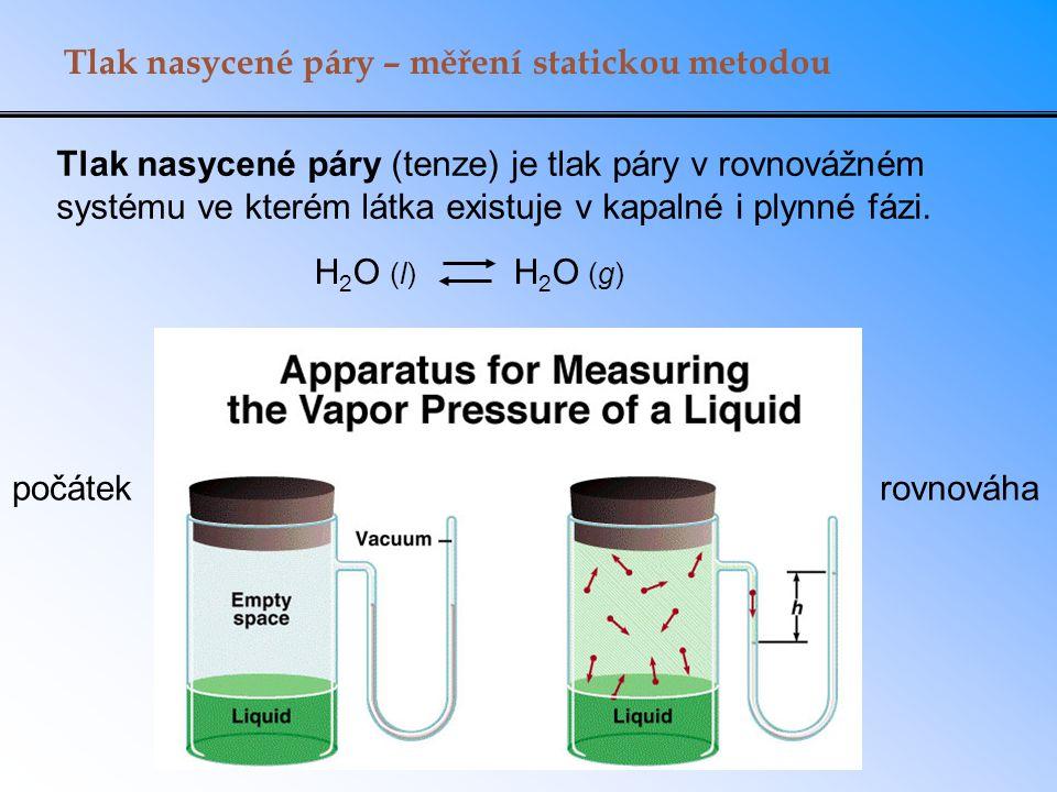 Tlak nasycené páry – měření statickou metodou Tlak nasycené páry (tenze) je tlak páry v rovnovážném systému ve kterém látka existuje v kapalné i plynné fázi.
