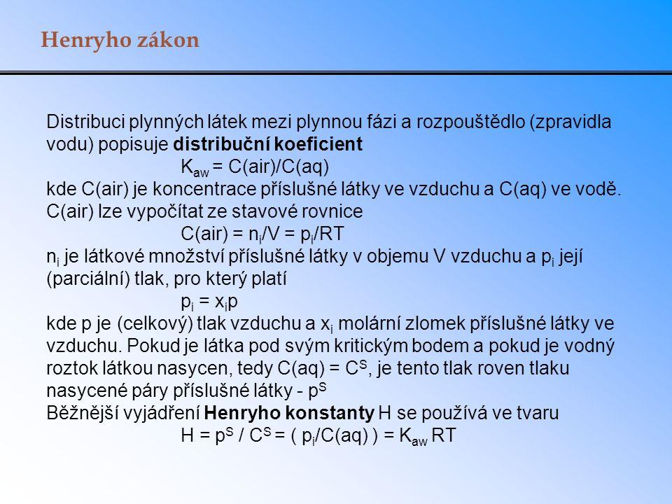 Henryho zákon Distribuci plynných látek mezi plynnou fázi a rozpouštědlo (zpravidla vodu) popisuje distribuční koeficient K aw = C(air)/C(aq) kde C(air) je koncentrace příslušné látky ve vzduchu a C(aq) ve vodě.