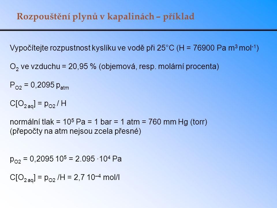 Rozpouštění plynů v kapalinách – příklad Vypočítejte rozpustnost kyslíku ve vodě při 25°C (H = 76900 Pa m 3 mol -1 ) O 2 ve vzduchu = 20,95 % (objemová, resp.