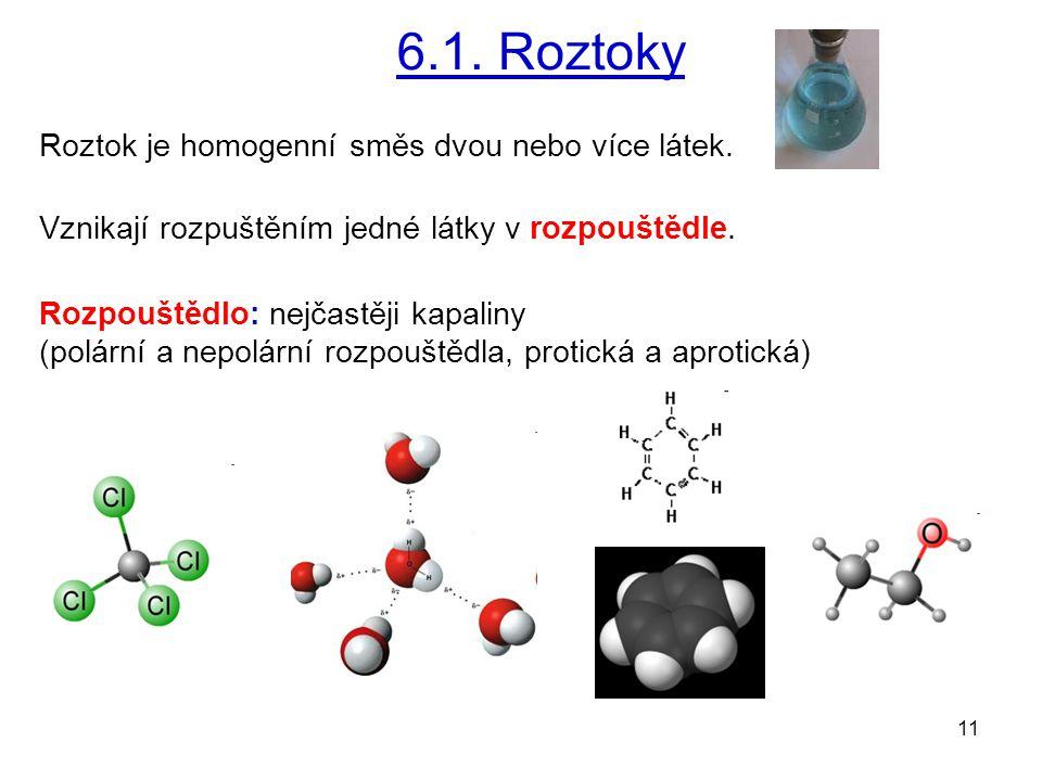 11 6.1. Roztoky Roztok je homogenní směs dvou nebo více látek. Vznikají rozpuštěním jedné látky v rozpouštědle. Rozpouštědlo: nejčastěji kapaliny (pol