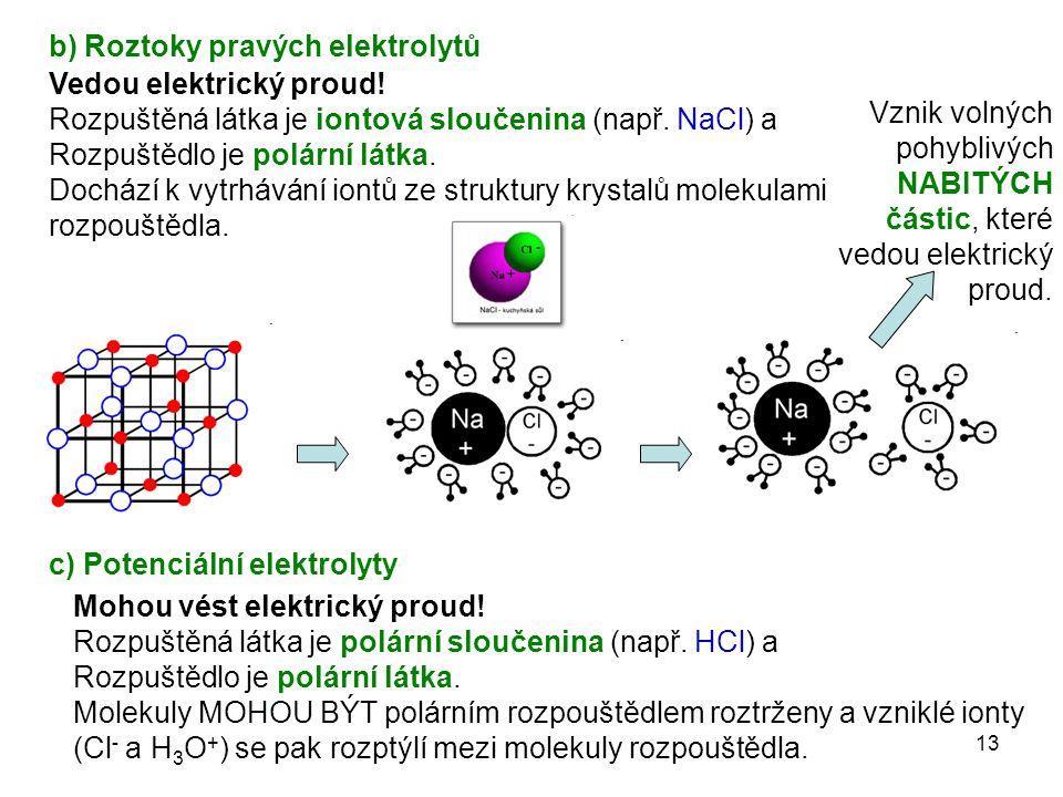 13 b) Roztoky pravých elektrolytů c) Potenciální elektrolyty Vedou elektrický proud! Rozpuštěná látka je iontová sloučenina (např. NaCl) a Rozpuštědlo