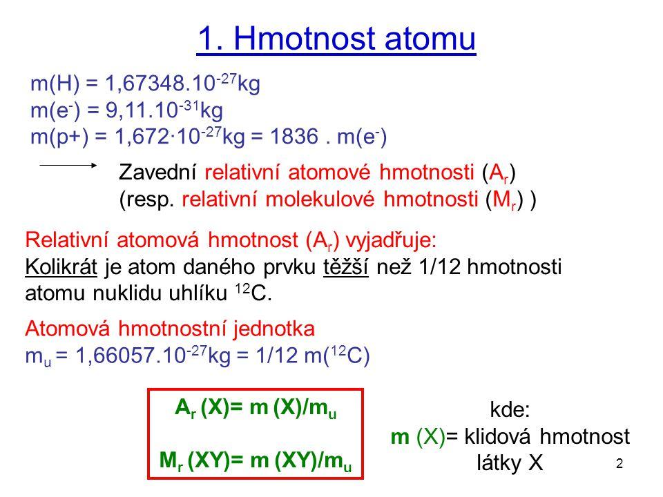 2 1. Hmotnost atomu m(H) = 1,67348.10 -27 kg m(e - ) = 9,11.10 -31 kg m(p+) = 1,672·10 -27 kg = 1836. m(e - ) Atomová hmotnostní jednotka m u = 1,6605