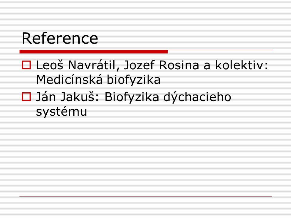Reference  Leoš Navrátil, Jozef Rosina a kolektiv: Medicínská biofyzika  Ján Jakuš: Biofyzika dýchacieho systému