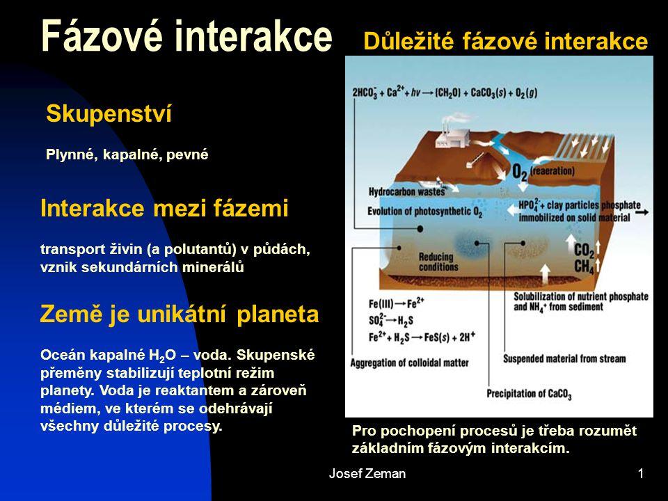 Josef Zeman2 Rozpuštěné plyny A g = A aq KH = [Aaq] / pA P atm = P 1 + P 2 + P 3 + … Výpočet rozpustnosti plynu ve vodě - kyslík O 2 ve vzduchu = 20,95 % (objem) P O2 = 0,2095 (P atm – P H2O ) [O 2 aq ] = K H p O2 normální tlak = 10 5 Pa = 1 atm = 760 mm Hg Tlak par vody při 25 °C = 23,456 mm Hg Parciální tlak: p H2O / p atm = 23,456 / 760 = 0,031 (p CO2 = 10 –3,5 = 0,000316) p O2 = 0,2095 (1 – 0,031) = 0,2030 [O 2 aq ] = K H p O2 = 1,28×10 –3 0,2030 = 2,60 10 –4 mol/l Henryho konstanty při 25 °C PlynK H ∆H (J/mol) CO 2 3,38 10 –2 -21,93 CH 4 1,34 10 –3 -16,61 H 2 7,90 10 –4 -5,05 N 2 6,48 10 –4 -12,44 O 2 1,28 10 –3 -14,64 Jaká bude rozpustnost kyslíku při 10 °C.