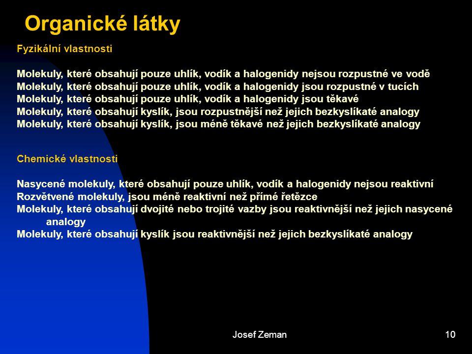 Josef Zeman10 Organické látky Chemické vlastnosti Nasycené molekuly, které obsahují pouze uhlík, vodík a halogenidy nejsou reaktivní Rozvětvené moleku