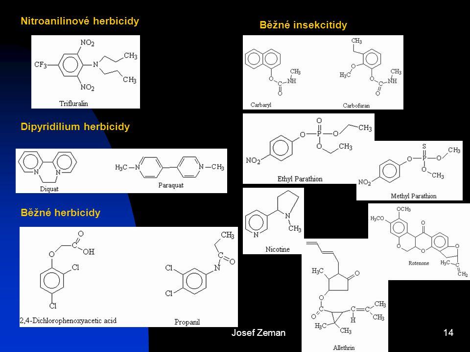 Josef Zeman14 Nitroanilinové herbicidy Dipyridilium herbicidy Běžné herbicidy Běžné insekcitidy