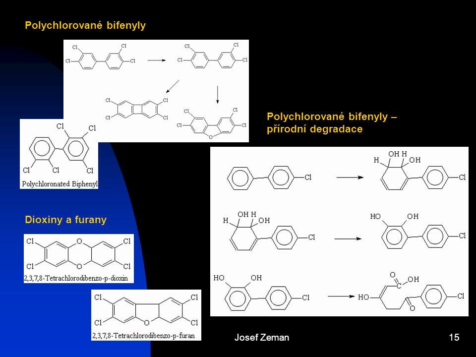 Josef Zeman15 Polychlorované bifenyly Dioxiny a furany Polychlorované bifenyly – přírodní degradace