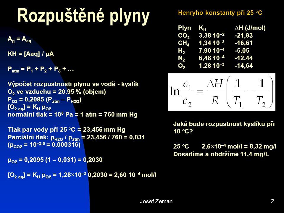 Josef Zeman2 Rozpuštěné plyny A g = A aq KH = [Aaq] / pA P atm = P 1 + P 2 + P 3 + … Výpočet rozpustnosti plynu ve vodě - kyslík O 2 ve vzduchu = 20,9