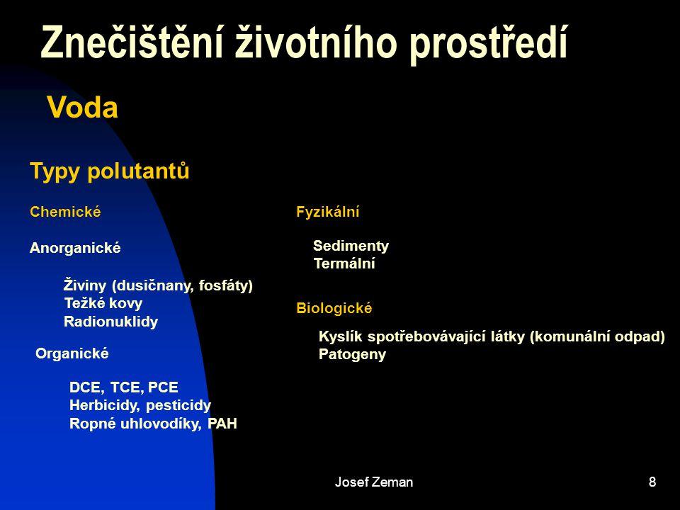 Josef Zeman8 Znečištění životního prostředí Typy polutantů Chemické Anorganické Fyzikální Živiny (dusičnany, fosfáty) Težké kovy Radionuklidy Organick