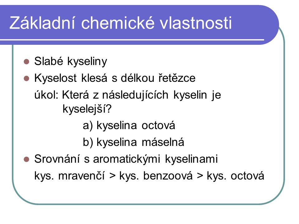 Základní chemické vlastnosti Slabé kyseliny Kyselost klesá s délkou řetězce úkol: Která z následujících kyselin je kyselejší? a) kyselina octová b) ky
