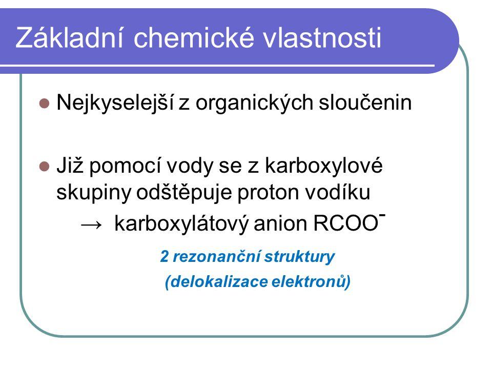 Základní chemické vlastnosti Nejkyselejší z organických sloučenin Již pomocí vody se z karboxylové skupiny odštěpuje proton vodíku → karboxylátový ani
