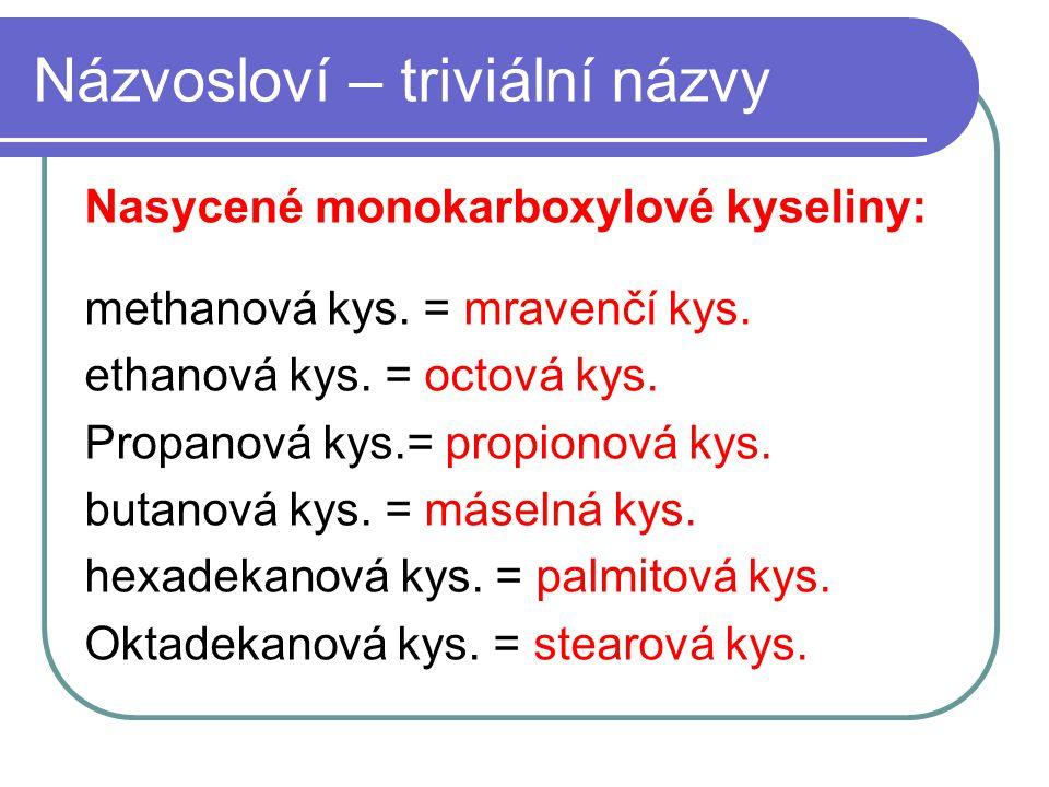 Názvosloví – triviální názvy Nasycené monokarboxylové kyseliny: methanová kys. = mravenčí kys. ethanová kys. = octová kys. Propanová kys.= propionová