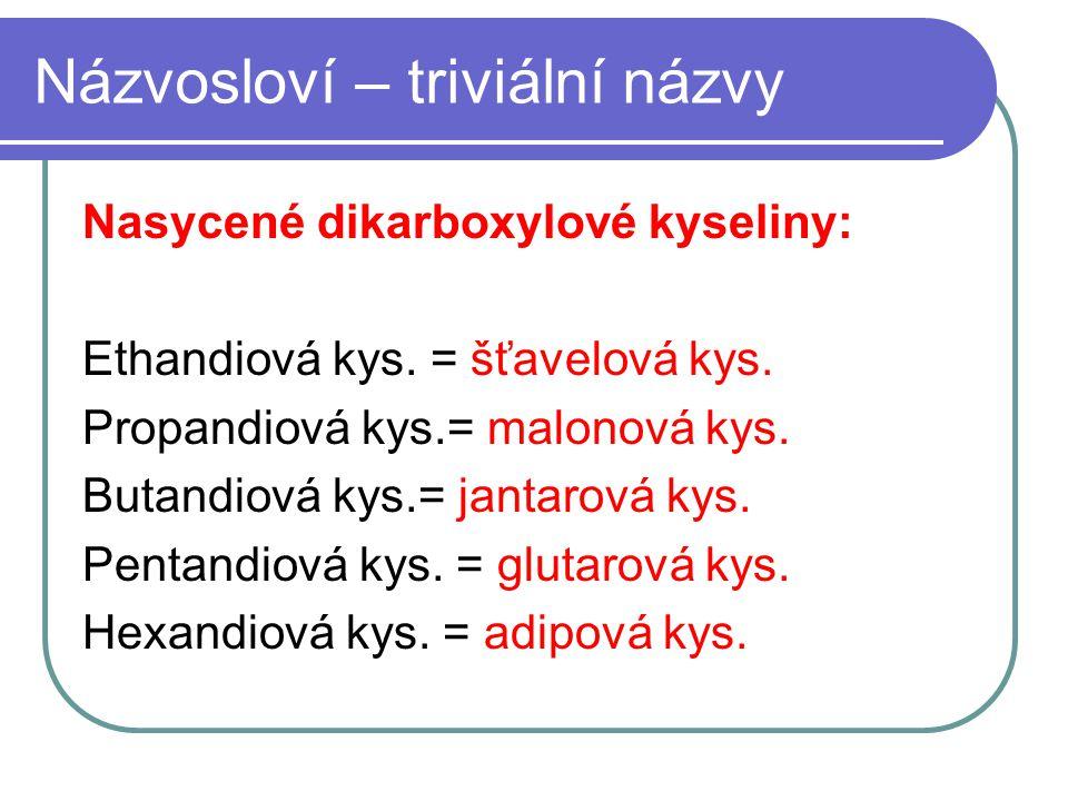 Názvosloví – triviální názvy Nasycené dikarboxylové kyseliny: Ethandiová kys. = šťavelová kys. Propandiová kys.= malonová kys. Butandiová kys.= jantar