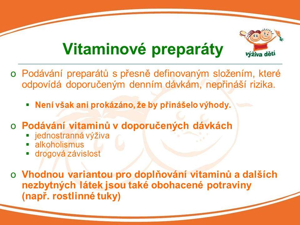 Vitaminové preparáty oPodávání preparátů s přesně definovaným složením, které odpovídá doporučeným denním dávkám, nepřináší rizika.  Není však ani pr
