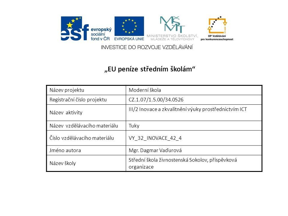 """""""EU peníze středním školám Název projektuModerní škola Registrační číslo projektuCZ.1.07/1.5.00/34.0526 Název aktivity III/2 Inovace a zkvalitnění výuky prostřednictvím ICT Název vzdělávacího materiáluTuky Číslo vzdělávacího materiáluVY_32_INOVACE_42_4 Jméno autoraMgr."""