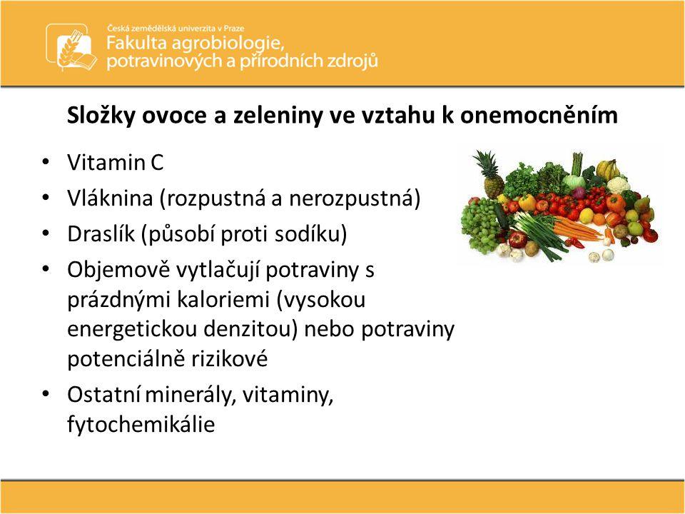 Složky ovoce a zeleniny ve vztahu k onemocněním Vitamin C Vláknina (rozpustná a nerozpustná) Draslík (působí proti sodíku) Objemově vytlačují potravin