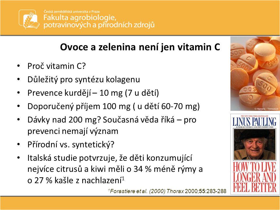 Ovoce a zelenina není jen vitamin C Proč vitamin C? Důležitý pro syntézu kolagenu Prevence kurdějí – 10 mg (7 u dětí) Doporučený příjem 100 mg ( u dět