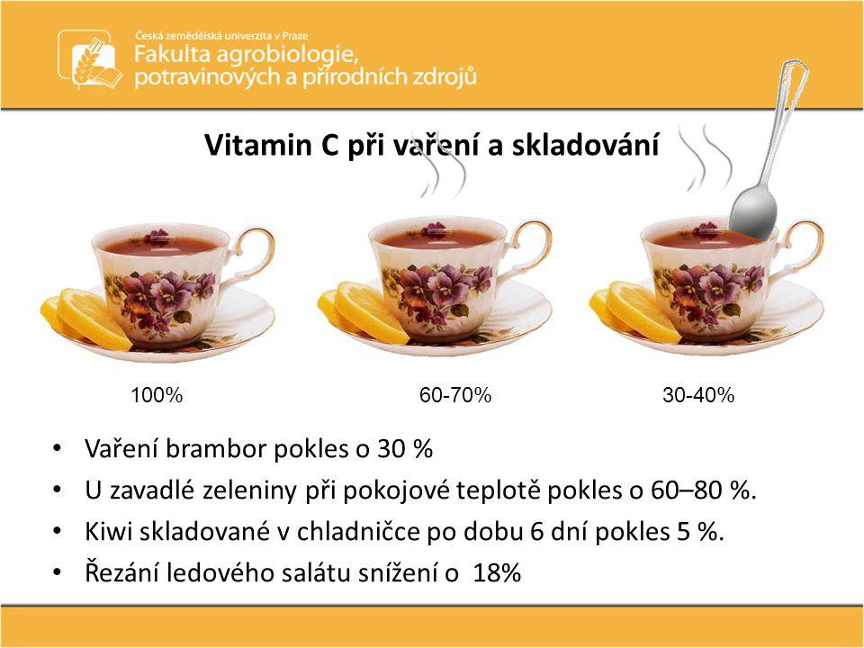 Vitamin C při vaření a skladování Vaření brambor pokles o 30 % U zavadlé zeleniny při pokojové teplotě pokles o 60–80 %. Kiwi skladované v chladničce