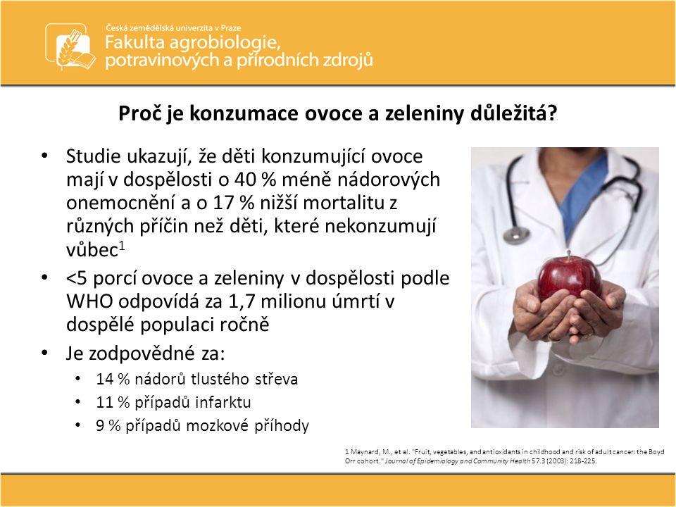 3,5–4,4% všech onemocnění v EU je v důsledku nedostatečné konzumace ovoce a zeleniny S každou porcí ovoce v dospělosti snižujeme riziko selhání srdce o 7 %, s každou porcí zeleniny o 5 % (ze zeleniny nejvyšší význam pro listovou zeleninu) 1 Přitom infarkt a mozková příhoda tvoří 22 % příčin úmrtí 1 Boeing et al.