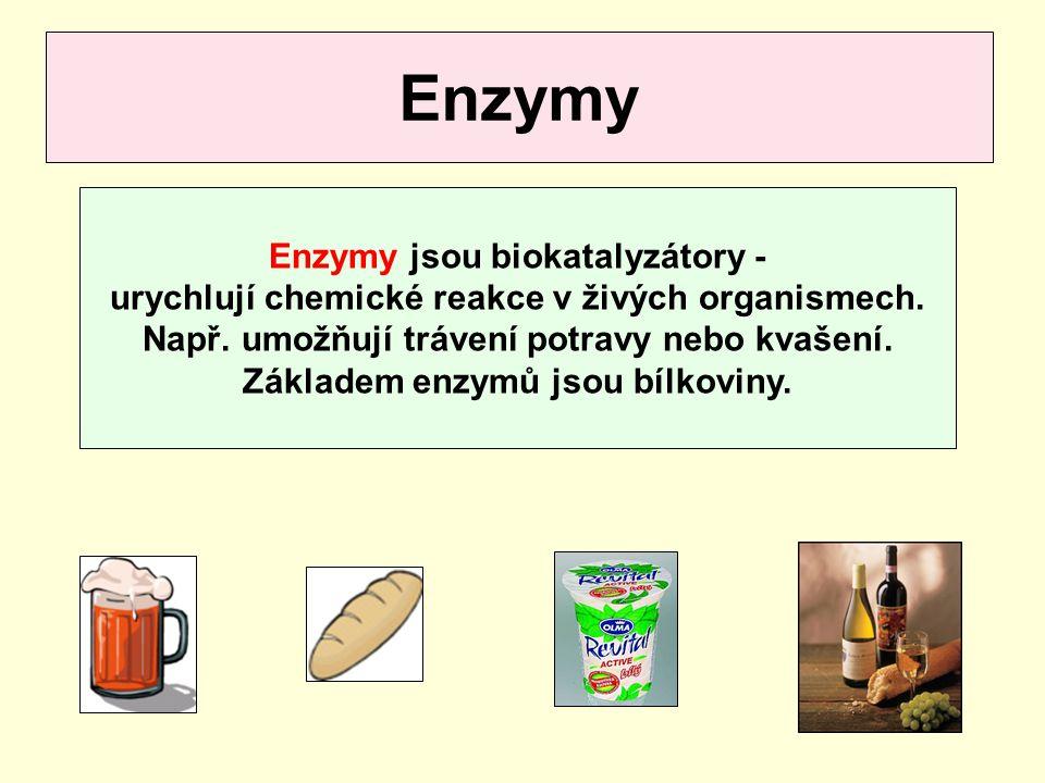 Enzymy Enzymy jsou biokatalyzátory - urychlují chemické reakce v živých organismech. Např. umožňují trávení potravy nebo kvašení. Základem enzymů jsou