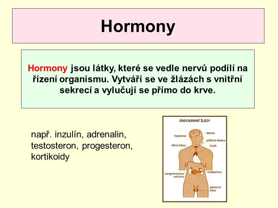Hormony Hormony jsou látky, které se vedle nervů podílí na řízení organismu. Vytváří se ve žlázách s vnitřní sekrecí a vylučují se přímo do krve. např