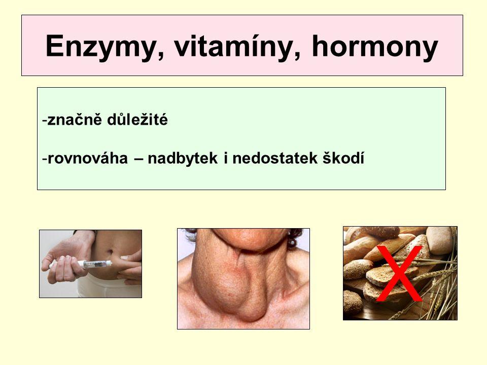 Enzymy, vitamíny, hormony -značně důležité -rovnováha – nadbytek i nedostatek škodí