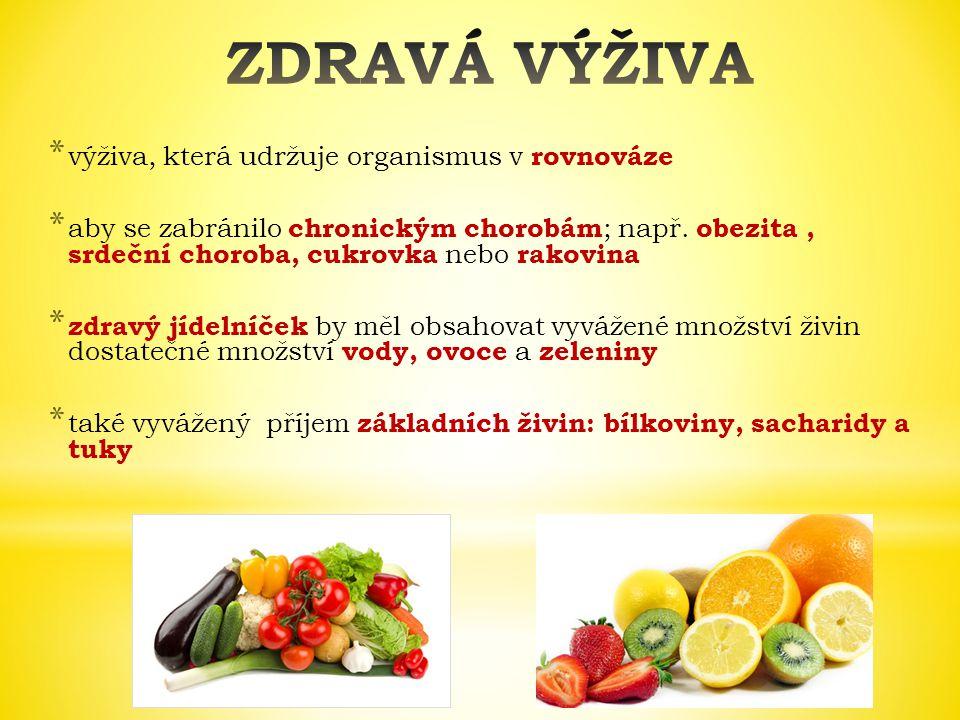 * výživa, která udržuje organismus v rovnováze * aby se zabránilo chronickým chorobám ; např. obezita, srdeční choroba, cukrovka nebo rakovina * zdrav