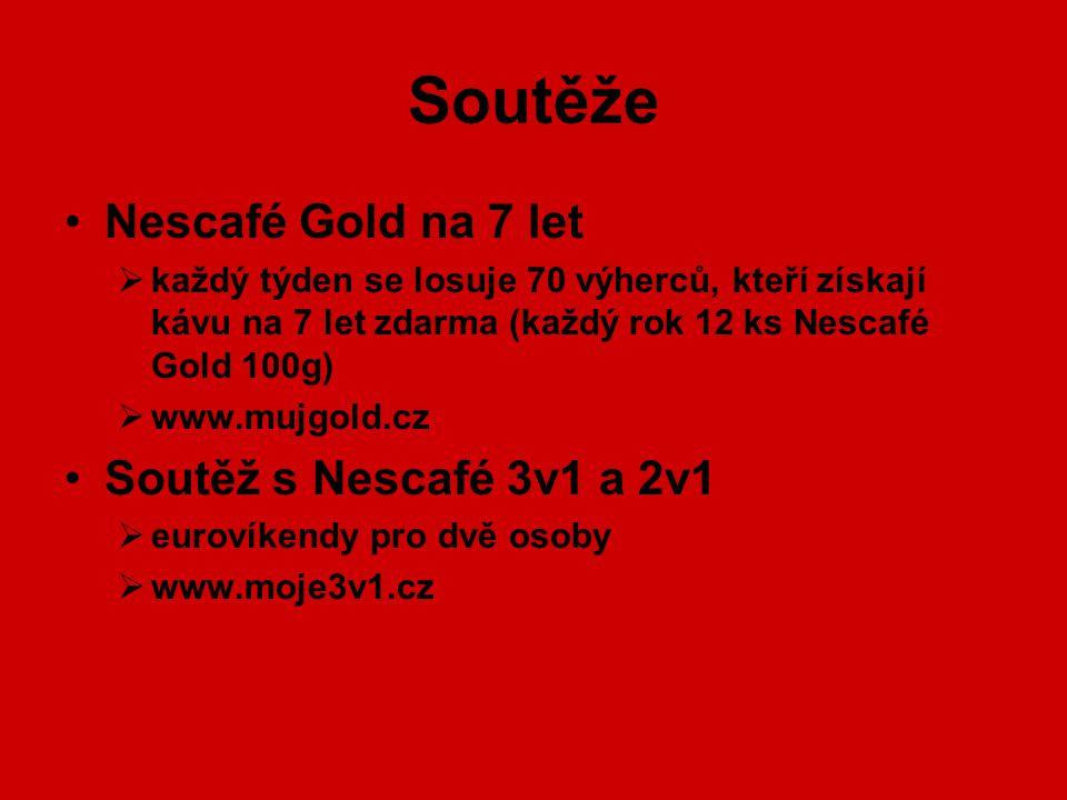 Soutěže Nescafé Gold na 7 let  každý týden se losuje 70 výherců, kteří získají kávu na 7 let zdarma (každý rok 12 ks Nescafé Gold 100g)  www.mujgold