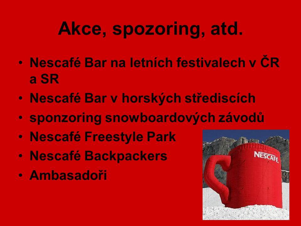 Akce, spozoring, atd. Nescafé Bar na letních festivalech v ČR a SR Nescafé Bar v horských střediscích sponzoring snowboardových závodů Nescafé Freesty