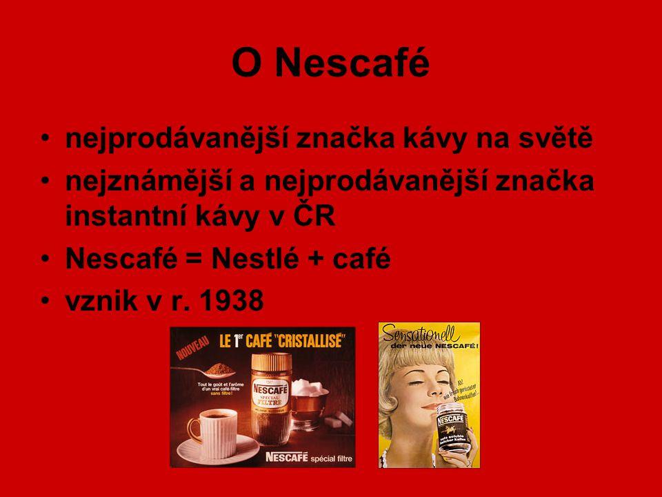 O Nescafé nejprodávanější značka kávy na světě nejznámější a nejprodávanější značka instantní kávy v ČR Nescafé = Nestlé + café vznik v r. 1938