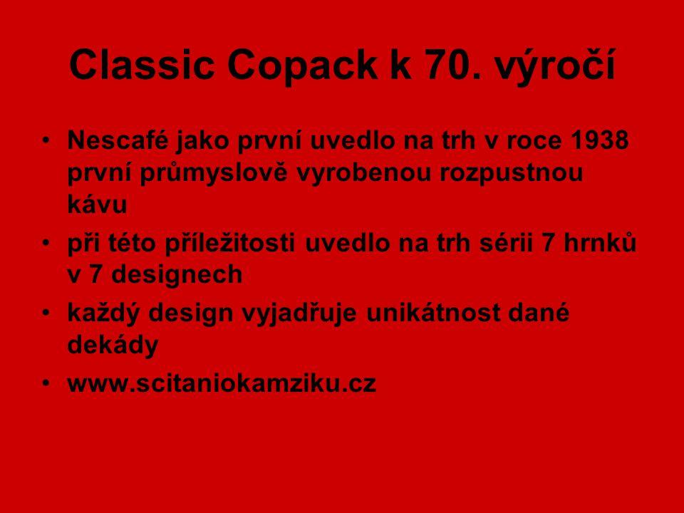 Classic Copack k 70. výročí Nescafé jako první uvedlo na trh v roce 1938 první průmyslově vyrobenou rozpustnou kávu při této příležitosti uvedlo na tr