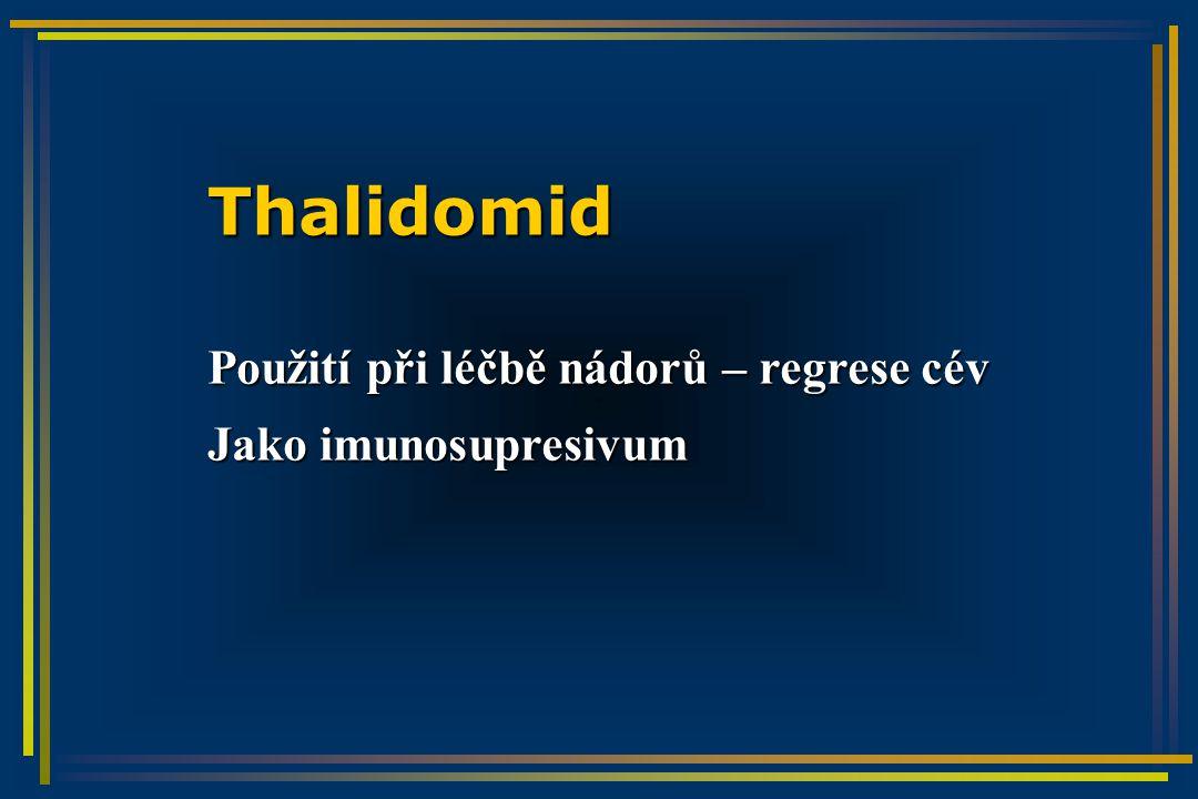 Thalidomid Použití při léčbě nádorů – regrese cév Jako imunosupresivum