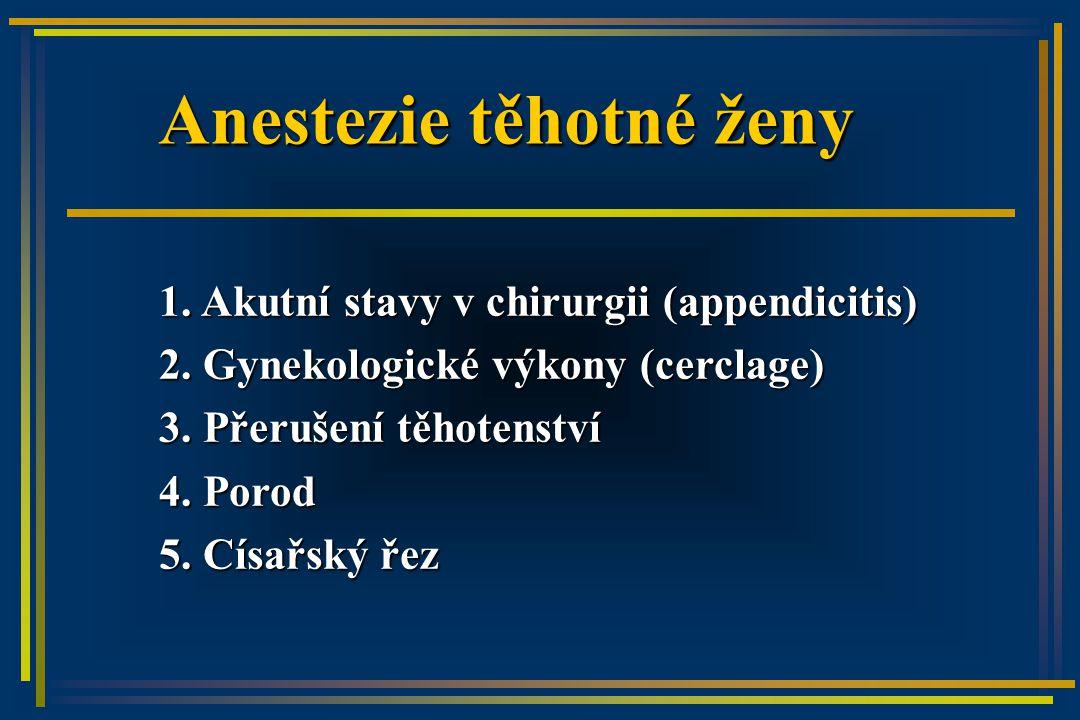 Anestezie těhotné ženy 1. Akutní stavy v chirurgii (appendicitis) 2.