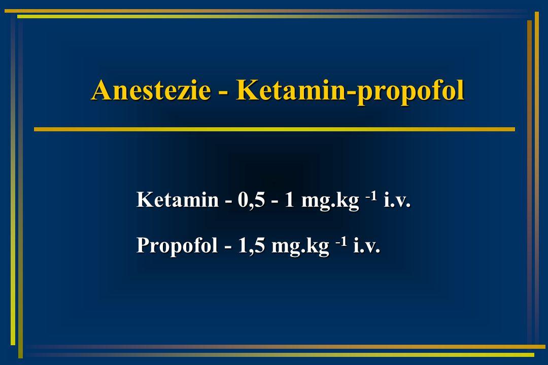 Anestezie - Ketamin-propofol Ketamin - 0,5 - 1 mg.kg -1 i.v. Propofol - 1,5 mg.kg -1 i.v.