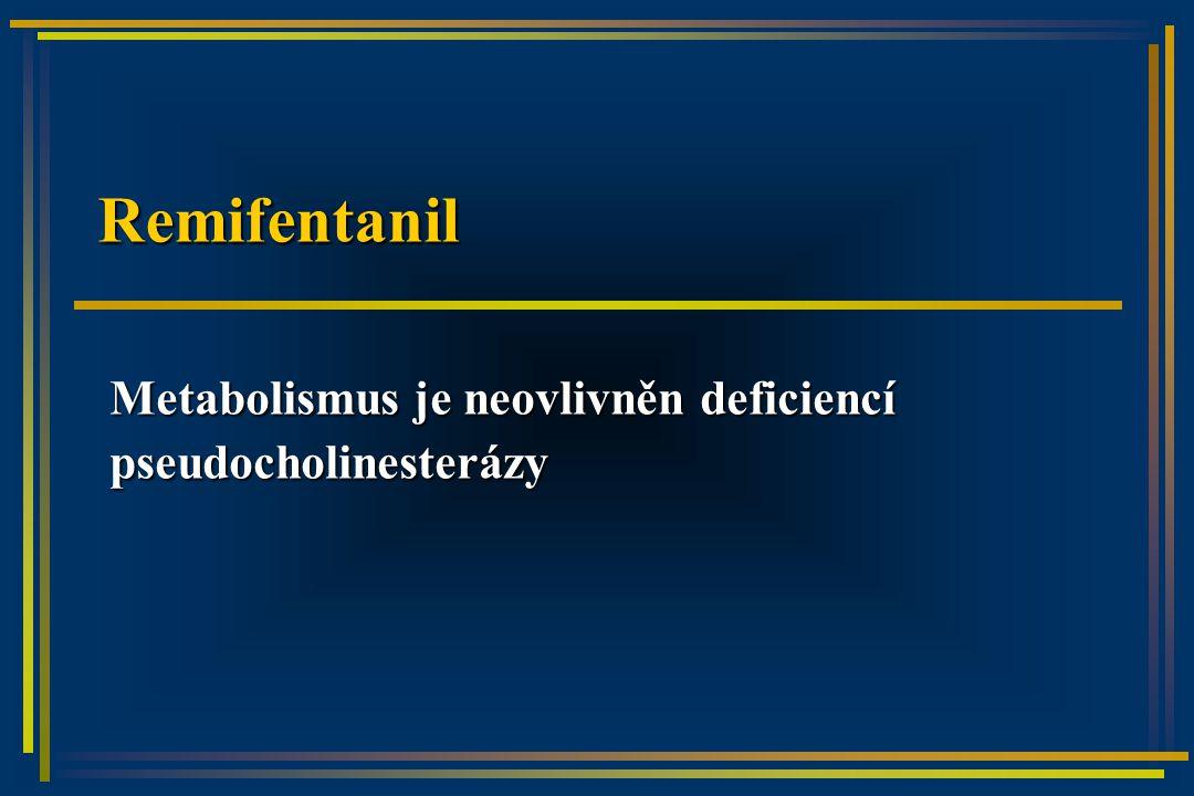 Remifentanil Metabolismus je neovlivněn deficiencí pseudocholinesterázy