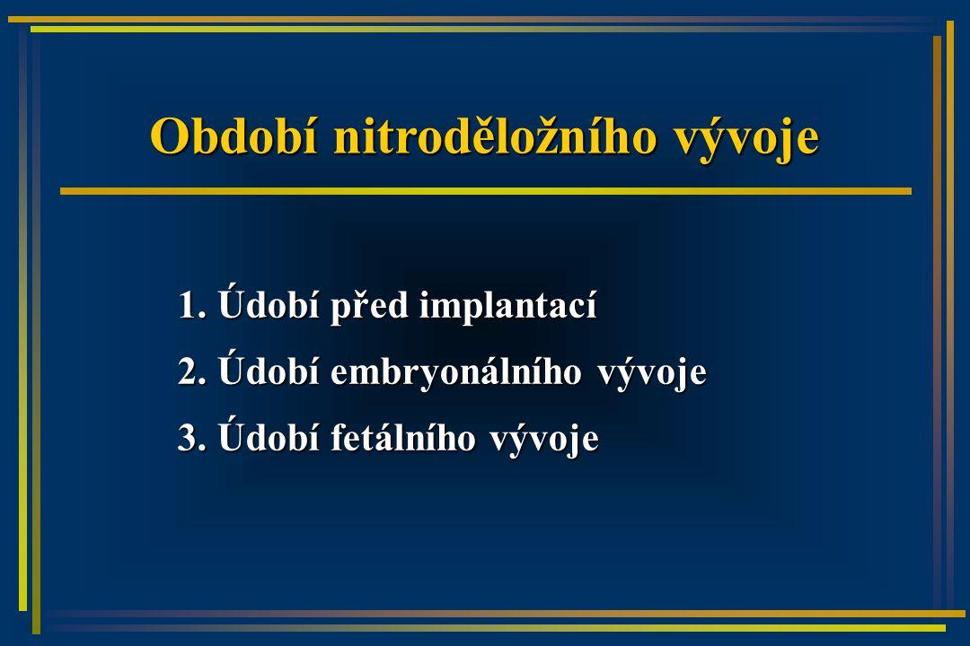 Období nitroděložního vývoje 1. Údobí před implantací 2.
