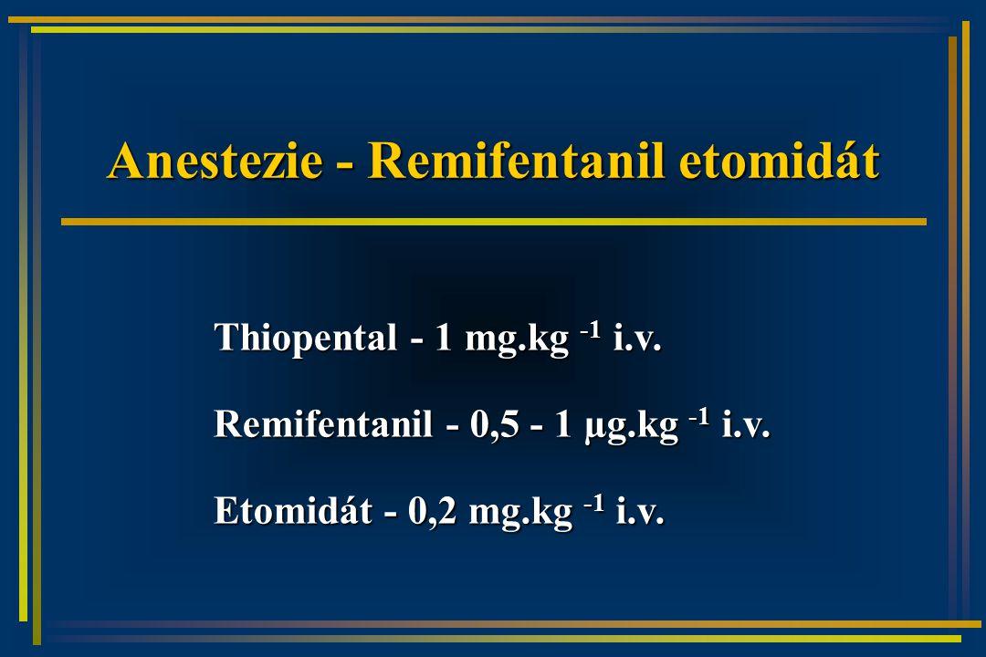Anestezie - Remifentanil etomidát Thiopental - 1 mg.kg -1 i.v.