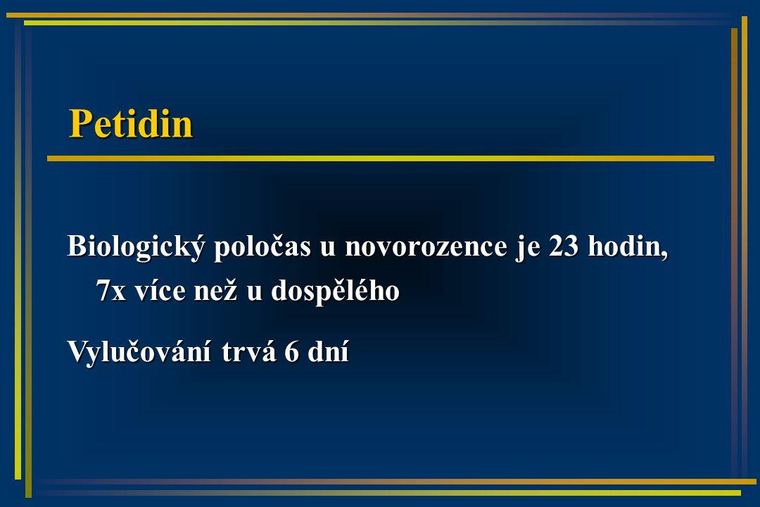 Petidin Biologický poločas u novorozence je 23 hodin, 7x více než u dospělého Vylučování trvá 6 dní