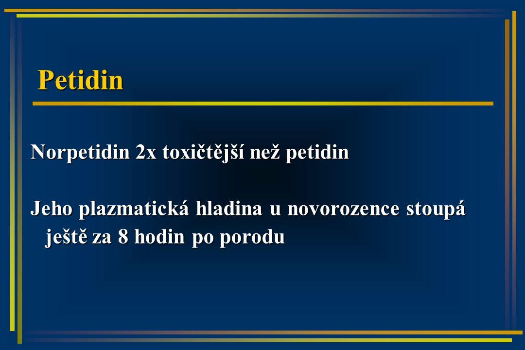 Petidin Norpetidin 2x toxičtější než petidin Jeho plazmatická hladina u novorozence stoupá ještě za 8 hodin po porodu