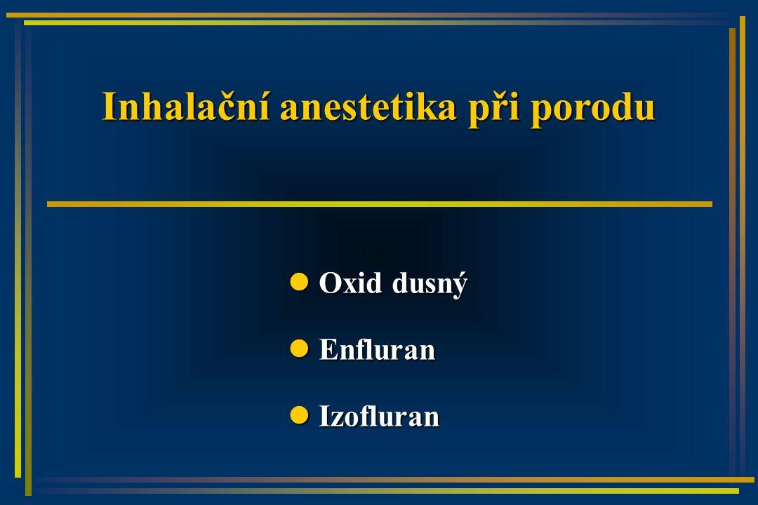 Inhalační anestetika při porodu Oxid dusný Oxid dusný Enfluran Enfluran Izofluran Izofluran