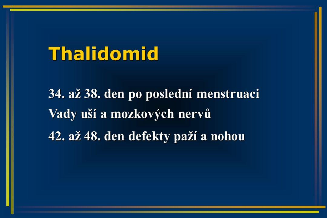 Thalidomid 34. až 38. den po poslední menstruaci Vady uší a mozkových nervů 42.