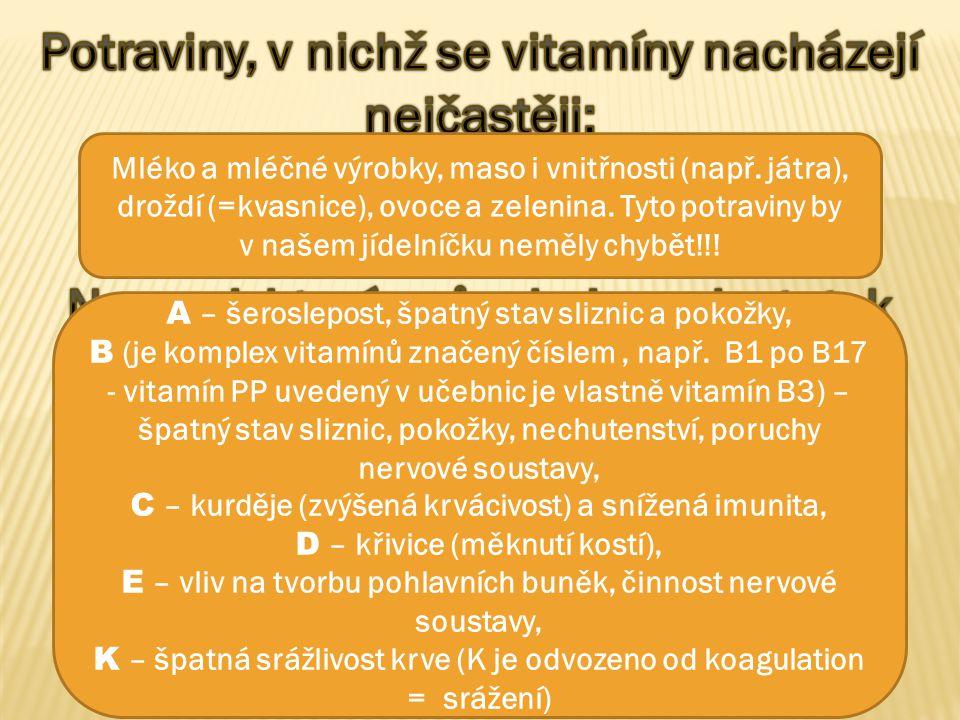 Mléko a mléčné výrobky, maso i vnitřnosti (např. játra), droždí (=kvasnice), ovoce a zelenina. Tyto potraviny by v našem jídelníčku neměly chybět!!! A