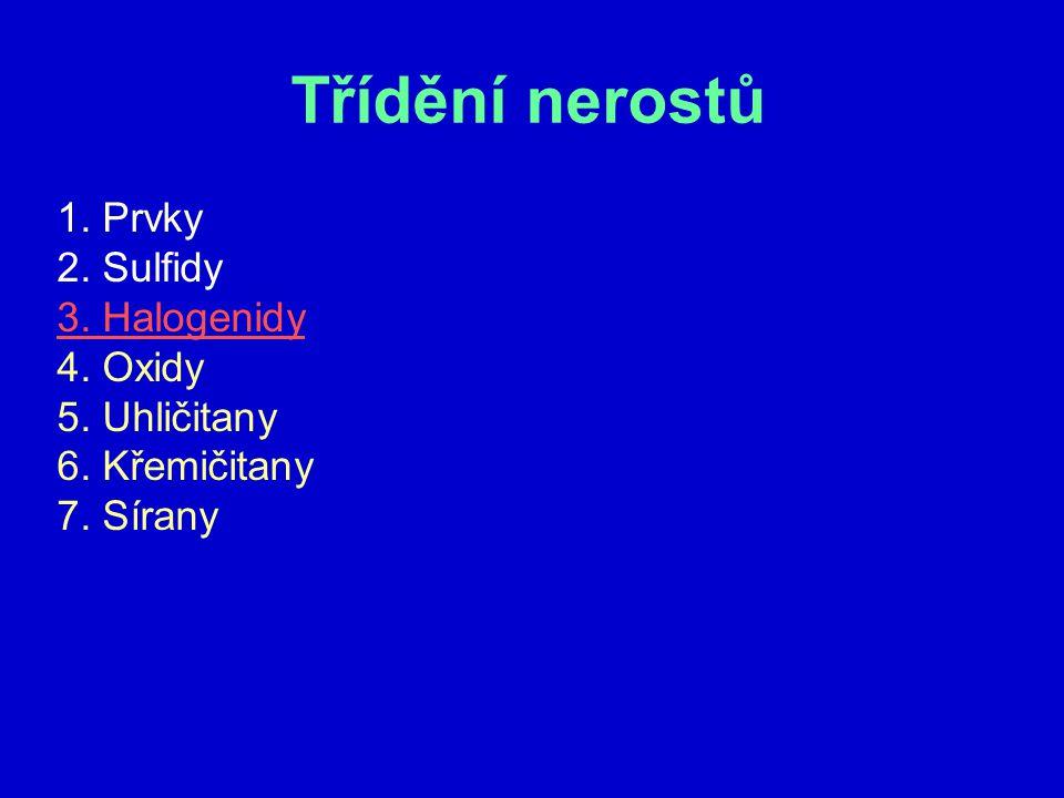 Třídění nerostů 1. Prvky 2. Sulfidy 3. Halogenidy 4. Oxidy 5. Uhličitany 6. Křemičitany 7. Sírany