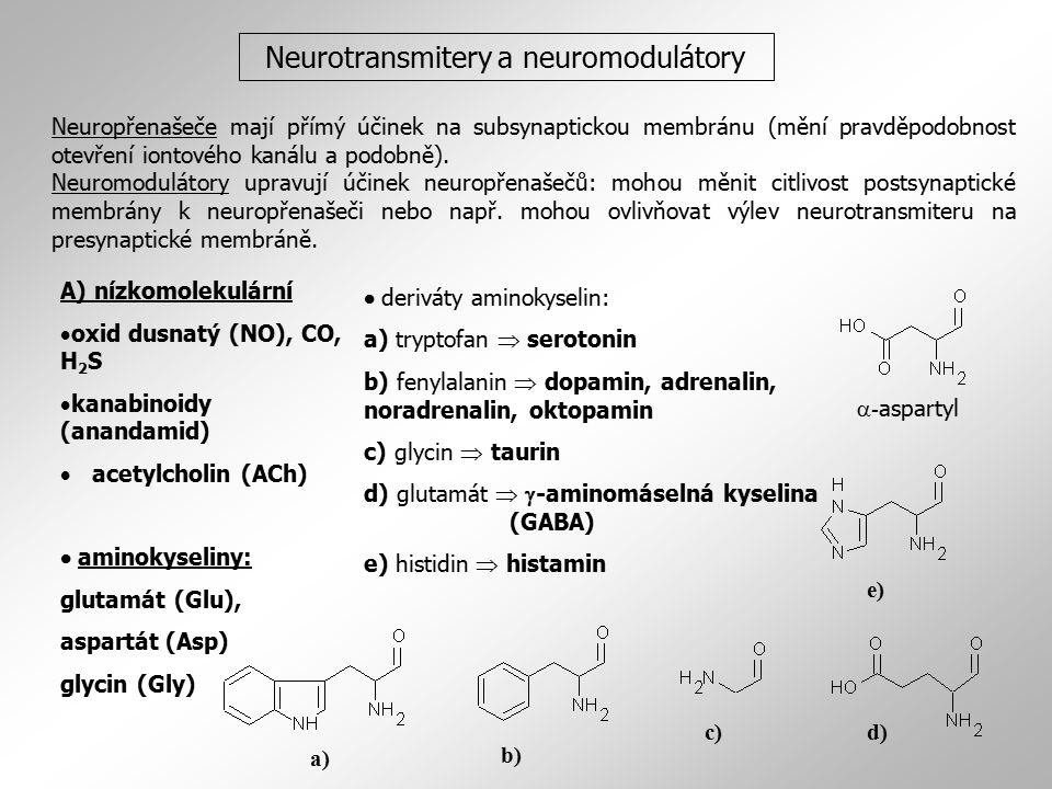 Neurotransmitery a neuromodulátory A) nízkomolekulární  oxid dusnatý (NO), CO, H 2 S  kanabinoidy (anandamid)  acetylcholin (ACh)  aminokyseliny: