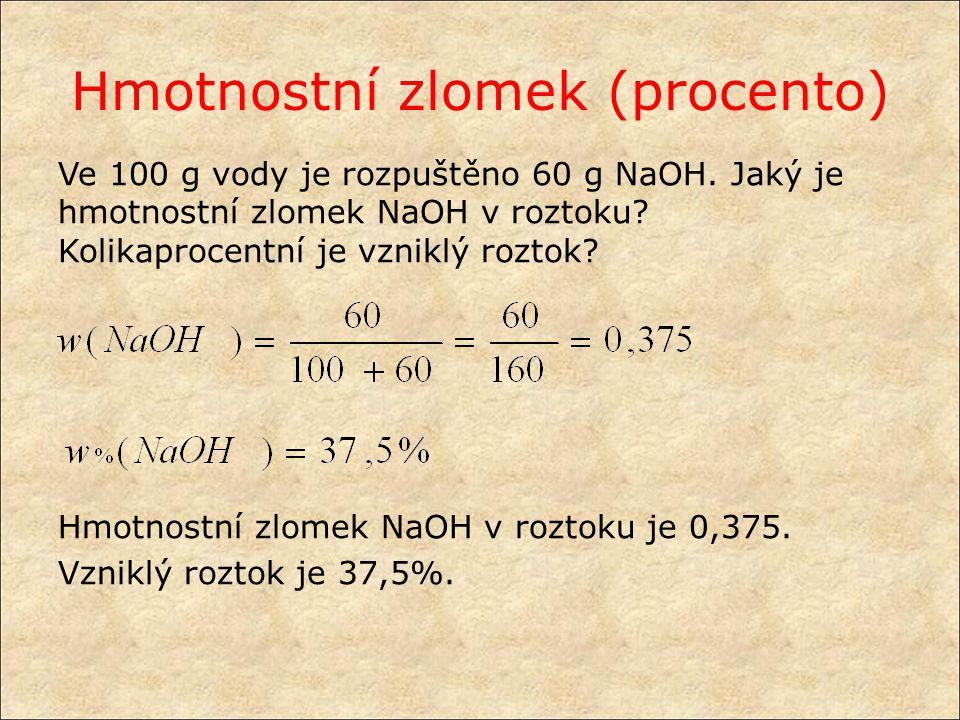 Vyjadřování složení směsí objemový zlomek (procento) φ(A) rozpuštěné látky A V(A) = objem rozpuštěné látky A V= celkový objem roztoku